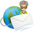 A globe with a wired envelope and a man illustration of on white background Royalty Free Stock Photo