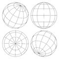 Globe wireframe set of four different sides of Stock Photography