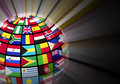 Globe with world flags Royalty Free Stock Photo