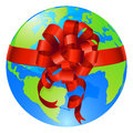Globe world gift bow concept Stock Photo