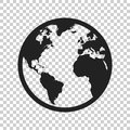Globe world map vector icon. Round earth flat vector illustration. Planet business concept pictogram on isolated transparent back Royalty Free Stock Photo