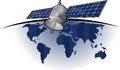 Globla satellite comunication with world behind Royalty Free Stock Photo