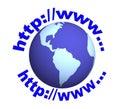 Globo 3d e testo - lettere il internet address Fotografia Stock Libera da Diritti