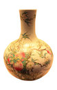 Globular vase with nine peaches in famille rose qing dynasty in chinese history Royalty Free Stock Photos