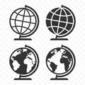 Globus web icon set. Planet Earth globe symbols. Royalty Free Stock Photo