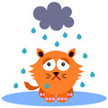 Gloomy cat a cartoon illustration of a under the rain Stock Image