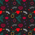Gloomy Patterns. Hipster Vintage Seamless Pattern Vector On A Black Background. Heart, Lips, Mustache, Jewels, Bird.