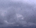The gloomy weather. Cloudy sky vector. Water drops on glass after rain.