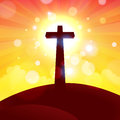 Glorious cross at sunset vector illustration of or sunrise Royalty Free Stock Image