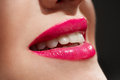 Gloss lips beautiful make up of close up Royalty Free Stock Photos