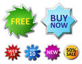 Glossy badges and sale tags Royalty Free Stock Image
