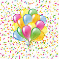 Glossy balloons on a colorful confetti background