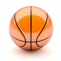 Glossy basketball red on white background d illustration Royalty Free Stock Image