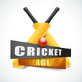 Glossy Bats with Ball for Cricket League concept. Royalty Free Stock Photo