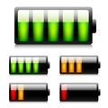 Glossy battery icons. Stock Photography