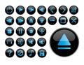 Glossy black icons Royalty Free Stock Photo