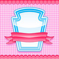 Glossy blue frame with pink banner Royalty Free Stock Photos