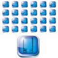 Glossy blue icon set for web Royalty Free Stock Photo