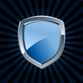 Glossy blue shield emblem Royalty Free Stock Images