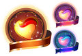 Glossy Bright Heart circle in colors Royalty Free Stock Images