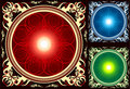 Glossy Bright Mandala circle in ornate frame Royalty Free Stock Images