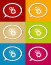 The glossy bubble with cogwheel icon collection set of speech bubbles setting symbol Royalty Free Stock Photo