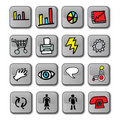 Glossy Business Icons Stock Image