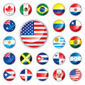 Glossy button flags - America Stock Photos