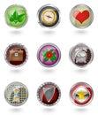 Glossy  button icon set. Royalty Free Stock Photo