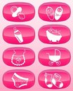 glossy buttons - Baby icons. Royalty Free Stock Photo