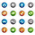 Glossy Buttons - Ecological Icons Royalty Free Stock Photo