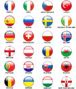 Glossy Buttons European Countries Flags Euro 2016