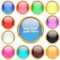 Glossy buttons in golden rings vector set