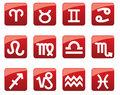 Glossy buttons with horoscope symbols Stock Photography