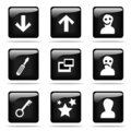 Glossy buttons with icons set Royalty Free Stock Image