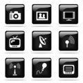 Glossy buttons with icons set Royalty Free Stock Images