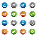 Glossy Buttons - Media Icons Royalty Free Stock Image