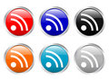Glossy buttons rss symbol Stock Photography