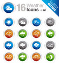 Glossy Buttons - Weather icons Royalty Free Stock Images