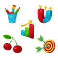Glossy cartoon icons Royalty Free Stock Images