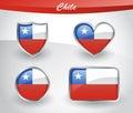 Glossy Chile flag icon set