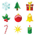 Glossy Christmas icons Stock Images
