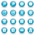 Glossy circle web icons set on white background Royalty Free Stock Image