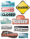 Glossy closed store signs Stock Photo