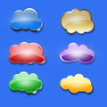 Glossy dialog clouds set of six on a blue surface Stock Photography