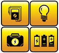 Glossy electrical button set for electricity icons Stock Image