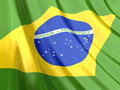 Glossy Flag of Brazil Royalty Free Stock Photography
