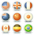 Glossy flags icons set illustration of a of with most major nations and countries usa france canada australia united kingdom Royalty Free Stock Images