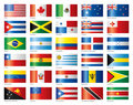 Glossy flags set America & Oceania Stock Images