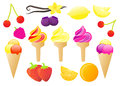Glossy fruit ice cream vector illustration set collection of various colorful fruits and creams Stock Image